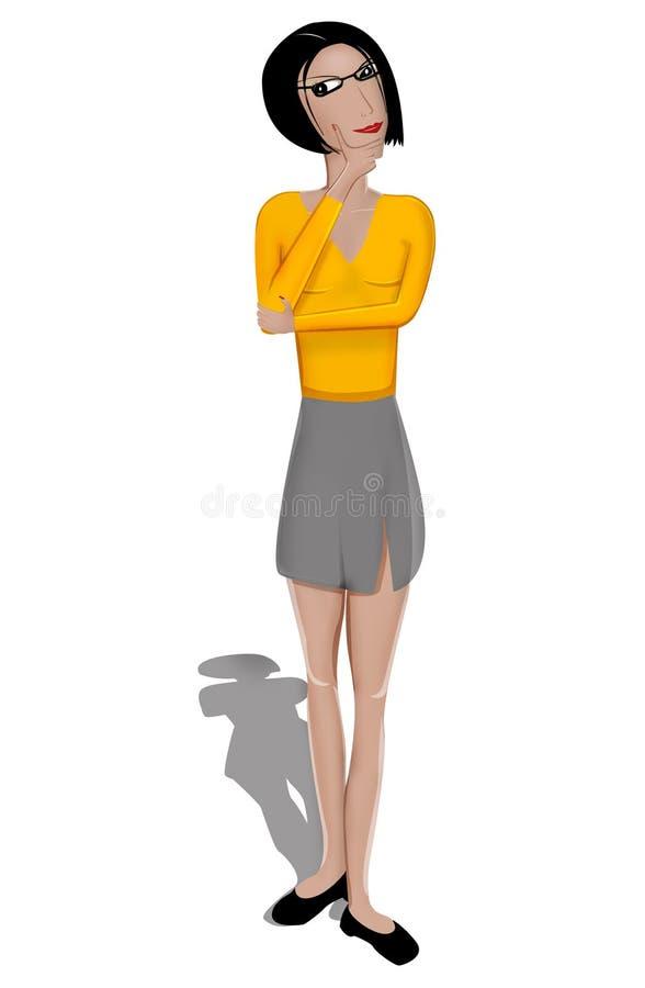 Denkende Frau stock abbildung