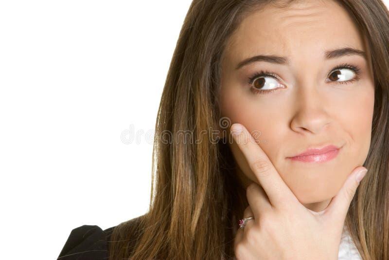 Denkende Frau lizenzfreie stockbilder