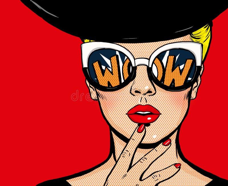 Denkende Frau der Pop-Art im schwarzen Hut in den Gläsern Wow-Fraugesicht lizenzfreie abbildung