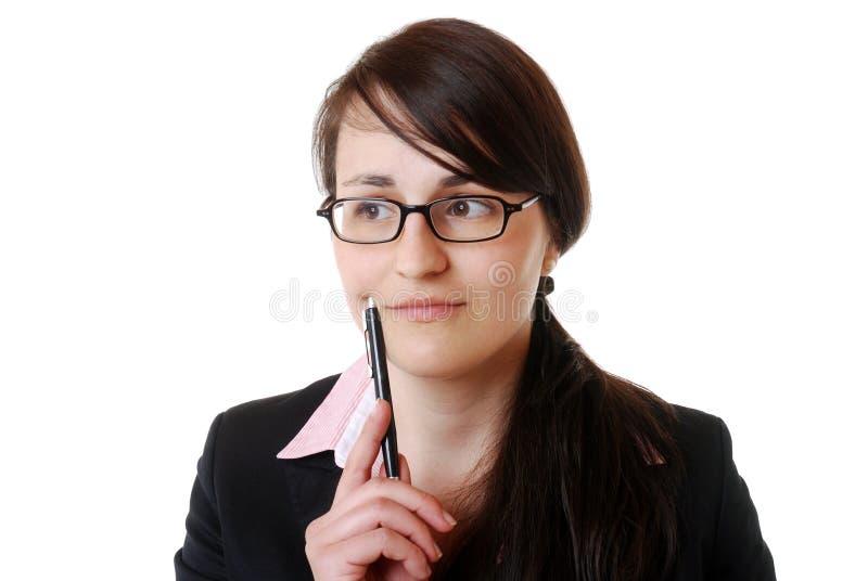 Denkende Geschäftsfrau lizenzfreies stockfoto