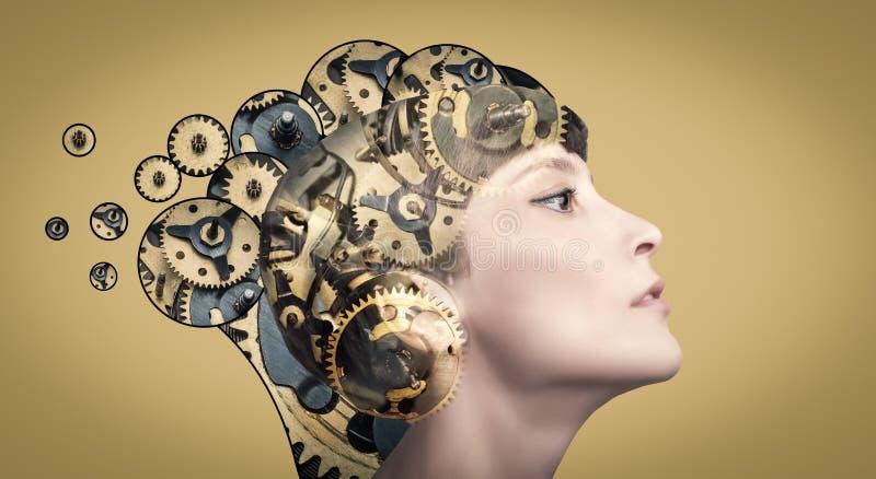 Denkende Gesch?ftsfrau mit Gangmechanismen auf ihrem Kopf lizenzfreies stockfoto