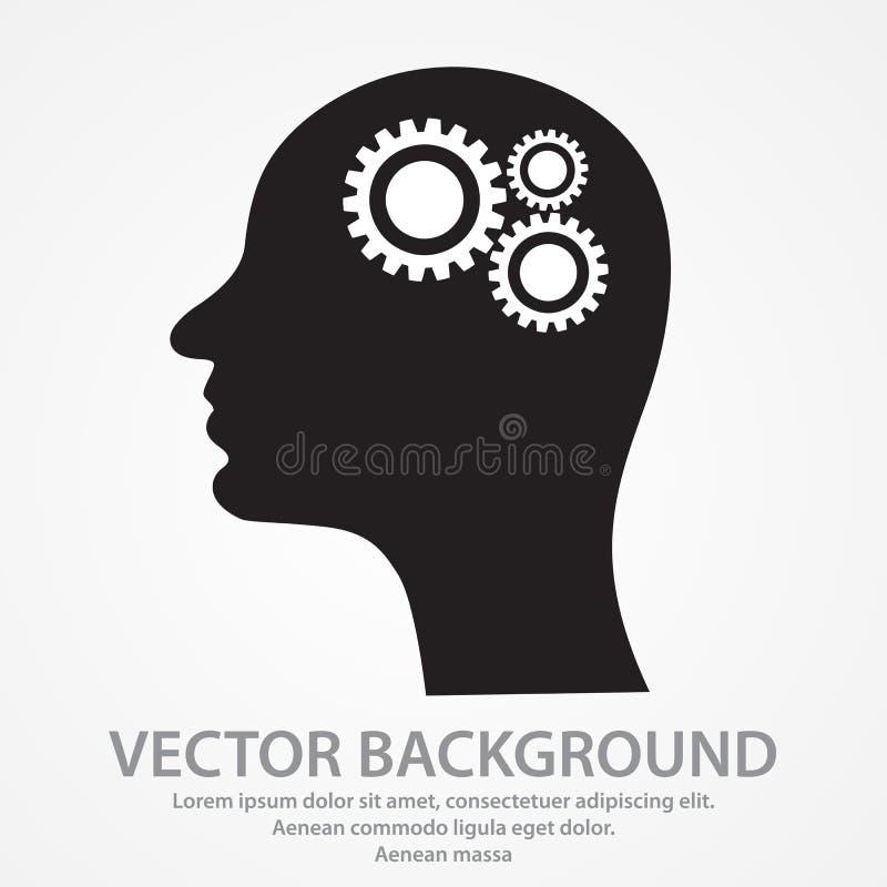 Denkende Ikone Schattenbild des Gangs im Kopf Es kann f?r Leistung der Planungsarbeit notwendig sein stock abbildung