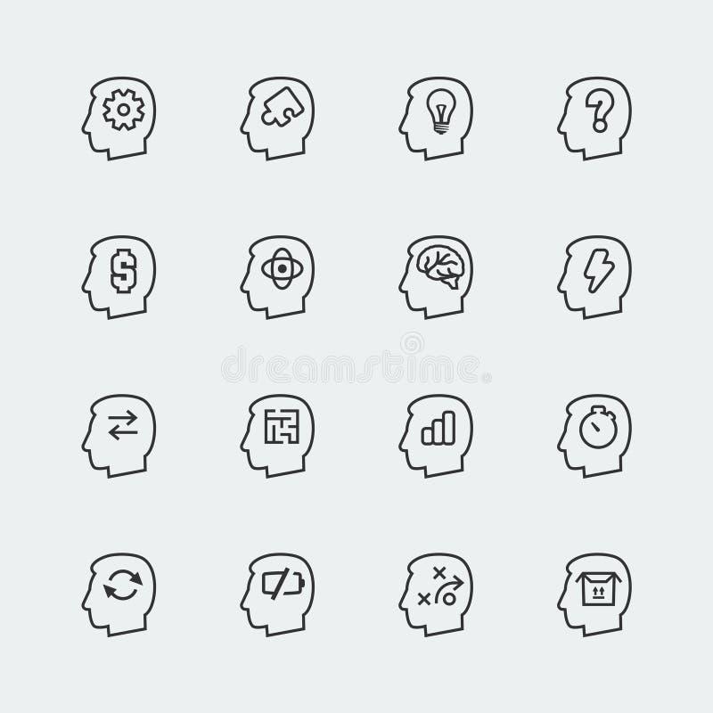 Denkende Ikonen des Vektors eingestellt stock abbildung
