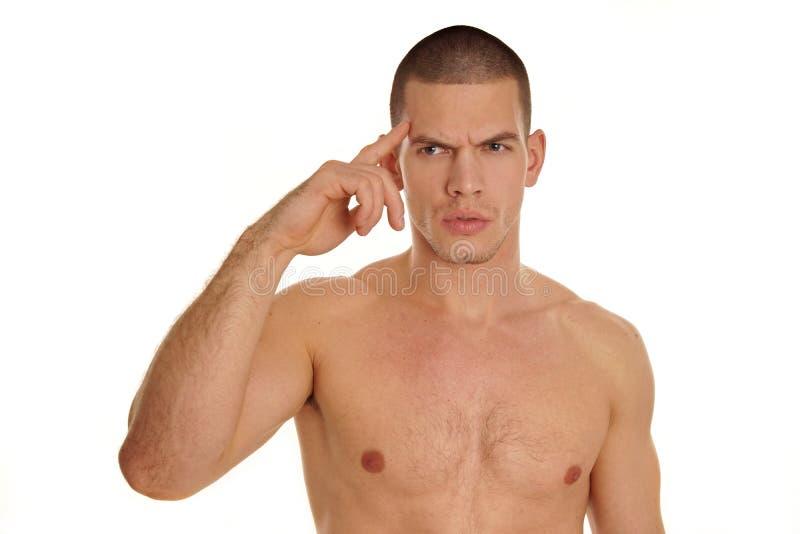 Download Denkende jonge mens stock foto. Afbeelding bestaande uit kaukasisch - 39114204