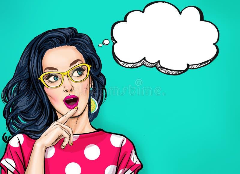 Denkende junge sexy Frau mit dem offenen Mund, der oben auf leerer Blase schaut Pop-Arten-Mädchen ist gedacht halten und Hand nah lizenzfreie abbildung