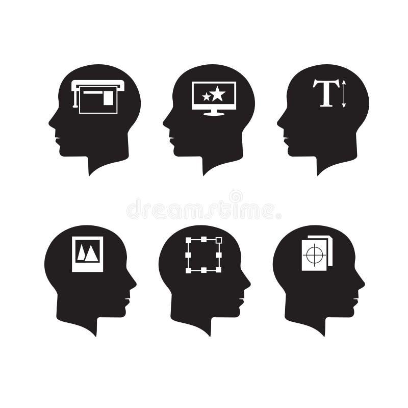 Denkende Köpfe lizenzfreie abbildung