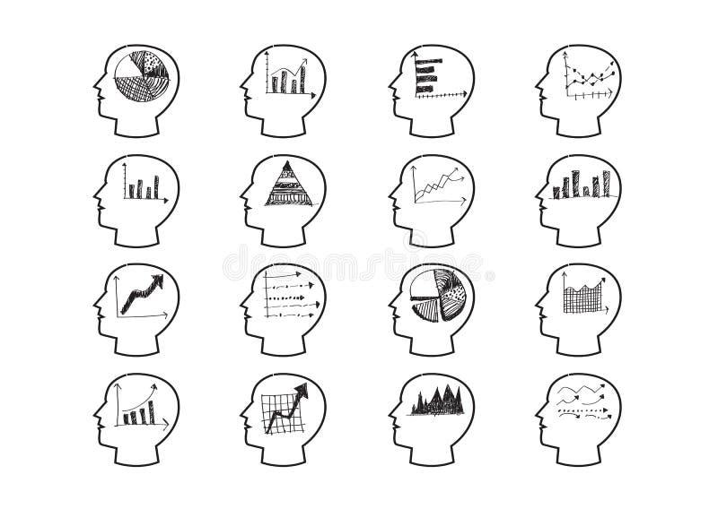 Denkende Kopf-Diagramm-Ikonen lizenzfreie abbildung