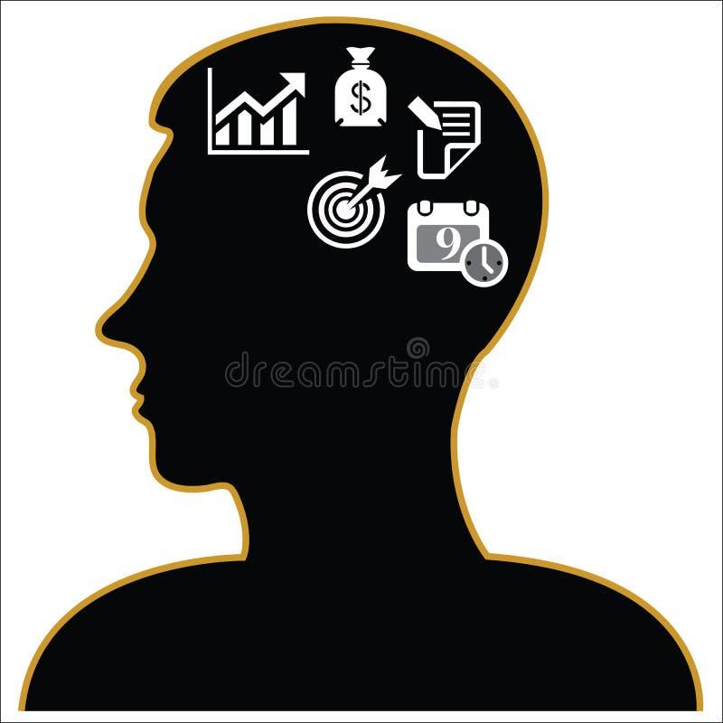 Denkende Kopfgeschäft Ikonen Auch im corel abgehobenen Betrag stock abbildung