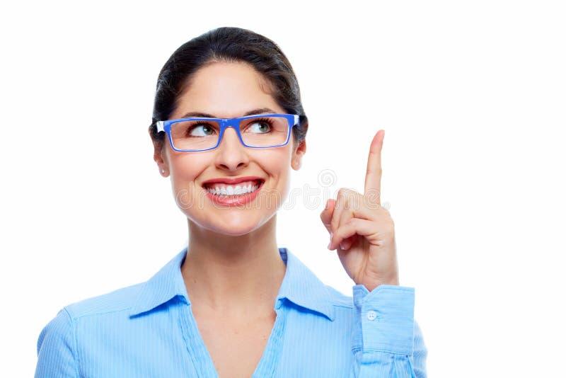 Denkende Lösung der Geschäftsfrau. lizenzfreies stockfoto
