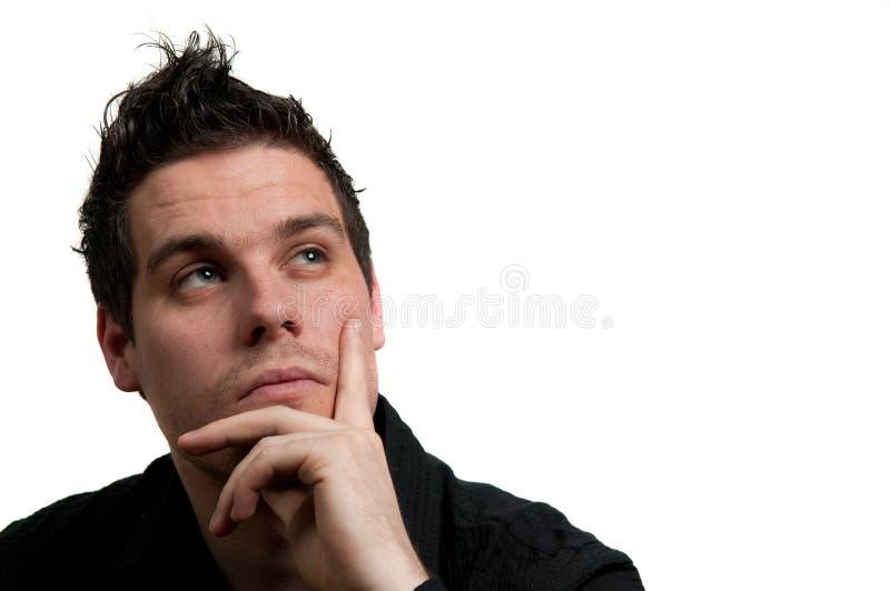 Denkende mens stock foto