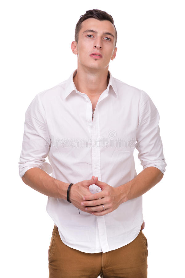 Denkende mens die op witte achtergrond wordt geïsoleerde close-up stock foto
