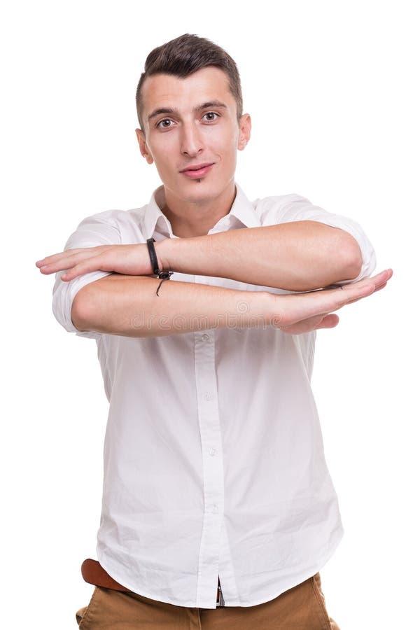 Denkende mens die op witte achtergrond wordt geïsoleerde Close-upportret van een toevallige jonge peinzende zakenman stock fotografie