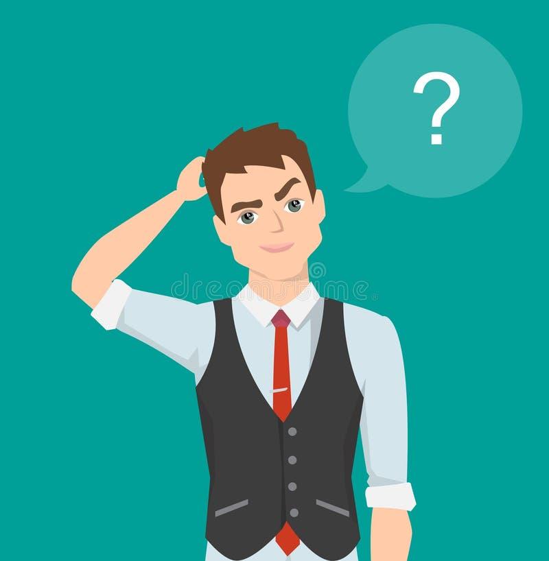 Denkende mens met vraagteken De vectorillustratie van het beeldverhaal royalty-vrije illustratie