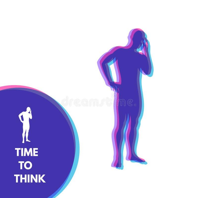 Denkende mens Silhouet van een bevindende mens De vectorillustratie van het ideeconcept vector illustratie