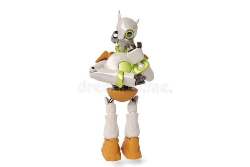 Denkende robot, 3D illustratie royalty-vrije illustratie