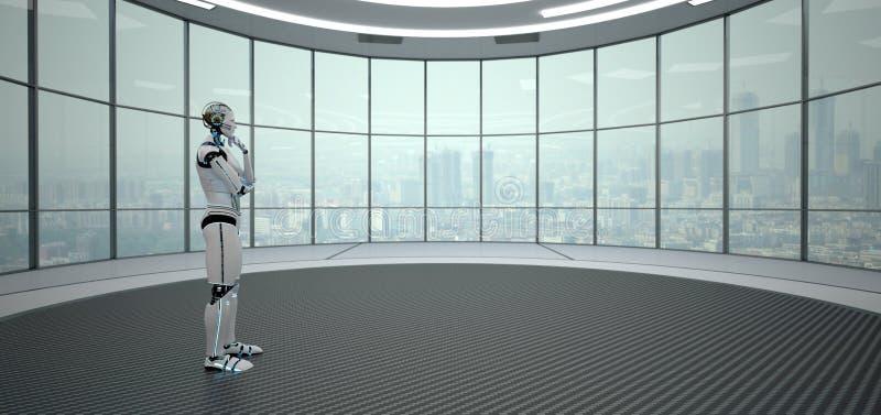 Denkende Robot Futuristische Zaal stock illustratie