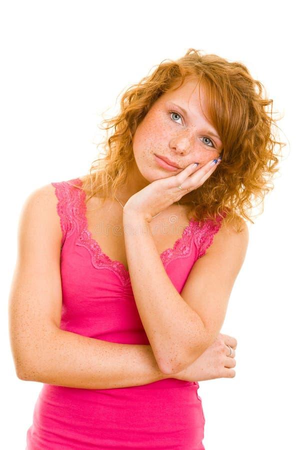 Denkende tiener stock foto's