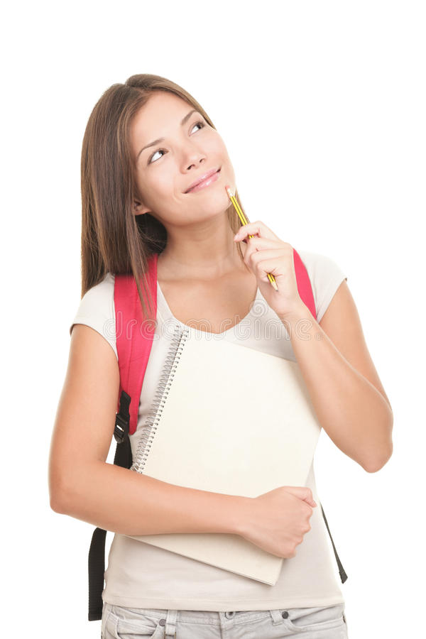 Denkende Universitaire Student op witte achtergrond royalty-vrije stock afbeelding