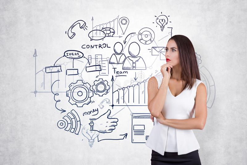 Denkende Unternehmensplanung der jungen Frau stockfoto