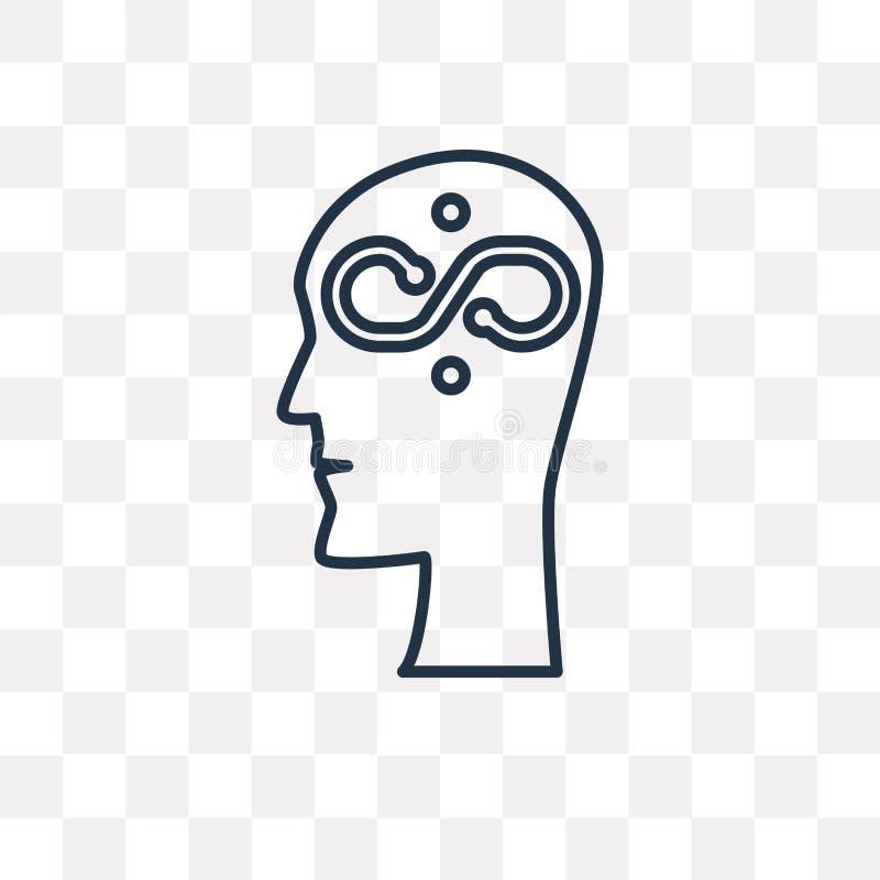 Denkende Vektorikone lokalisiert auf dem transparenten Hintergrund, linear vektor abbildung