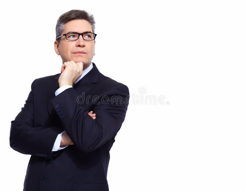 Denkende zakenman. royalty-vrije stock afbeelding