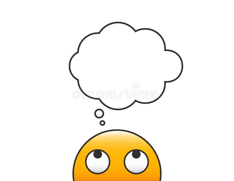 Denkender Emoticonpersonencharakter Vector den Charakter, der oben einer leeren komischen Karikaturblase betrachtet Transparenter lizenzfreie abbildung