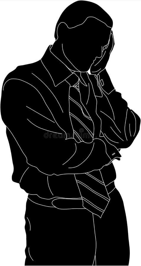 Denkender Geschäftsmann lizenzfreie abbildung