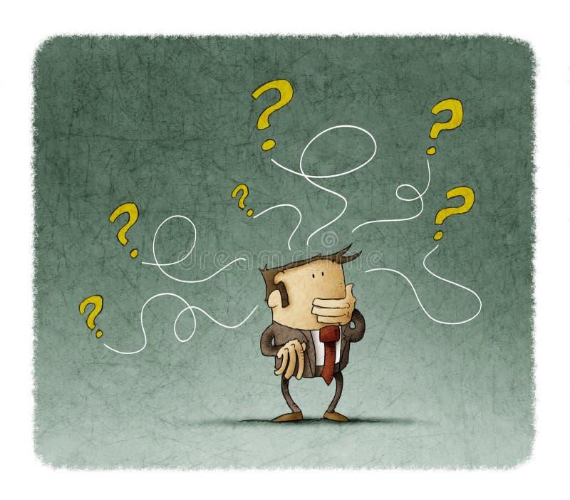 Denkender Geschäftsmann, während einige Fragen aus seinen Kopf herauskommen stock abbildung