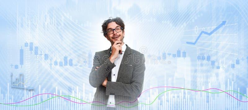Denkender Investormann lizenzfreie stockfotos