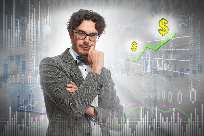 Denkender Investormann stockbilder