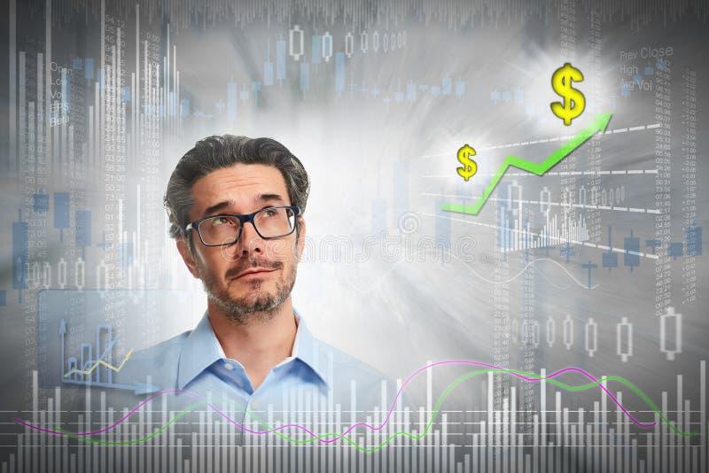 Denkender Investormann stockfoto