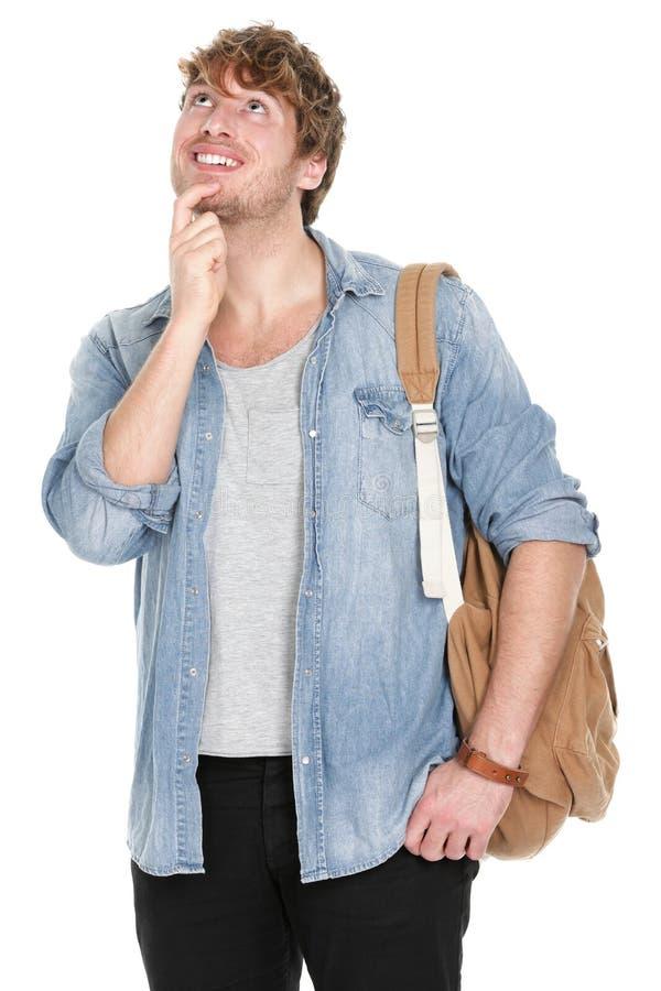 Denkender junger männlicher Kursteilnehmer lizenzfreie stockfotos