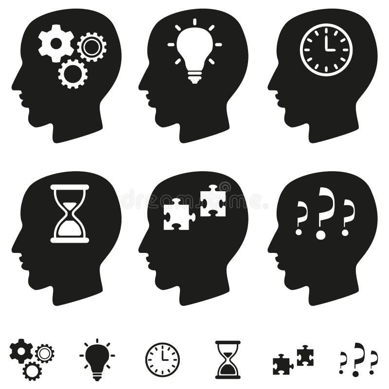 Denkender Kopfvektorsatz lizenzfreie abbildung