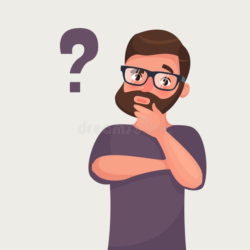 Denkender Mann mit Fragezeichen Vektorillustration in der Karikaturart lizenzfreie abbildung