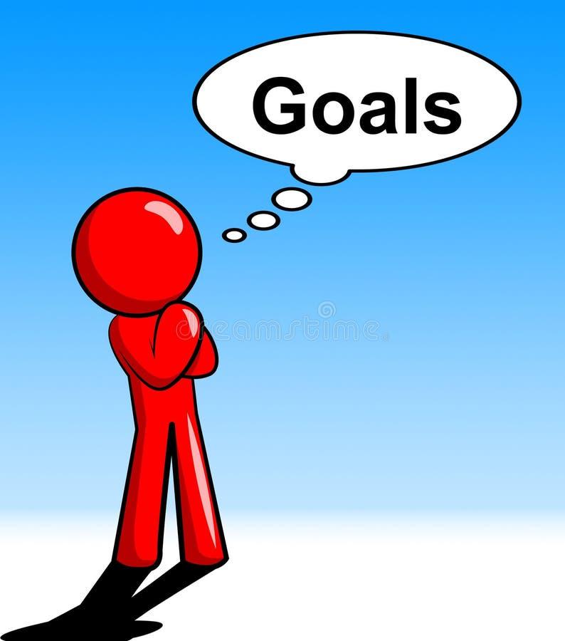 Denkender Ziel-Charakter zeigt Aspirations-Ziele und Auftrag lizenzfreie abbildung