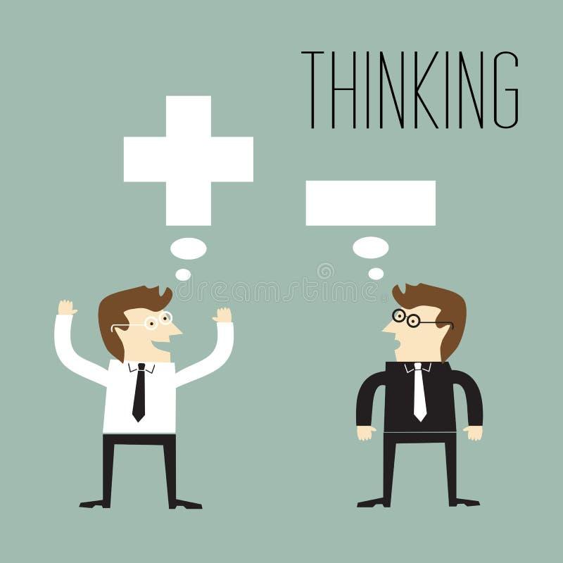 Denkendes und negatives denkendes Positiv vektor abbildung
