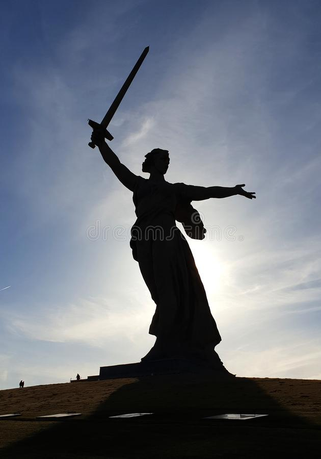Denkmal der Mutterlands-Mutter auf Mamaew Kurgan in Wolgograd lizenzfreie stockbilder
