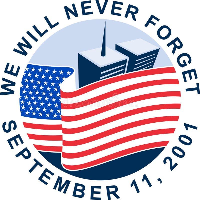 Denkmal mit 911 amerikanischen Flaggen vektor abbildung