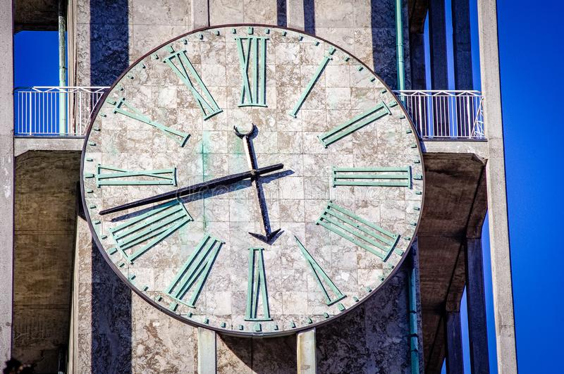 Denmark aarhus city hall clock. Very much one of the main tourist attractions and points of interest in the area royalty free stock photos