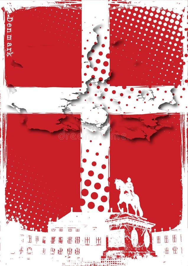 denmark affisch royaltyfri illustrationer