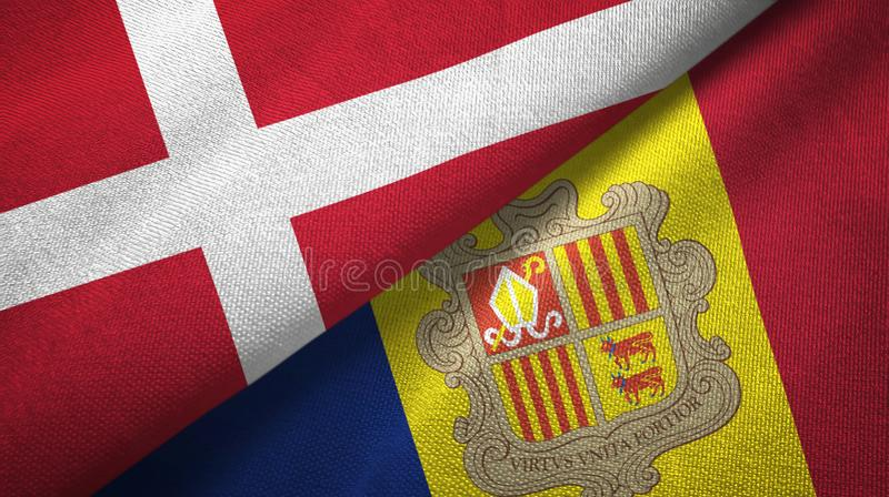 Denmark and Andorra two flags textile cloth, fabric texture. Denmark and Andorra two folded flags together vector illustration