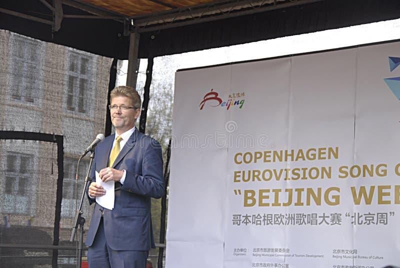 DENMARK_BEIJING WEEK. COPENHAGEN /DENMARK- Frank Jensen Lord mayor of Copenhagen unveils Bijing poster and official opening of the Copenhagen Eurovision song royalty free stock images