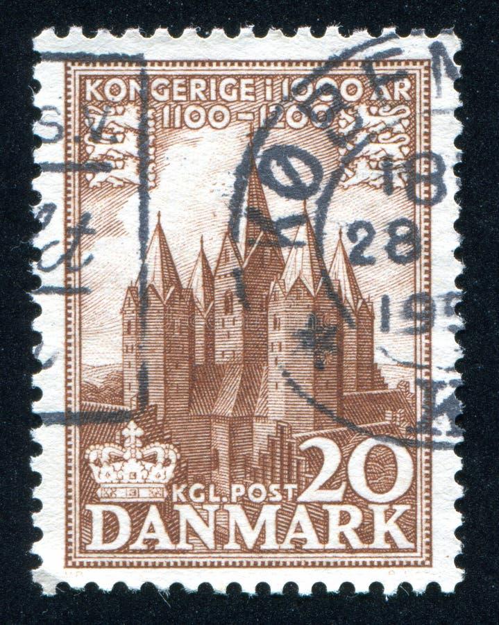 Church of Kalundborg. DENMARK - CIRCA 1953: stamp printed by Denmark, shows Church of Kalundborg, circa 1953 stock photography