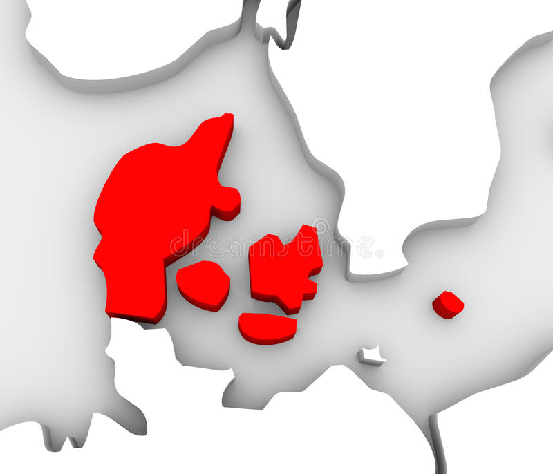 Denmark Country Abstract 3D Europe Map Scandinavia. An illustrated 3d abstract map of northern Europe continent and Scandanavian countries with the country of stock illustration