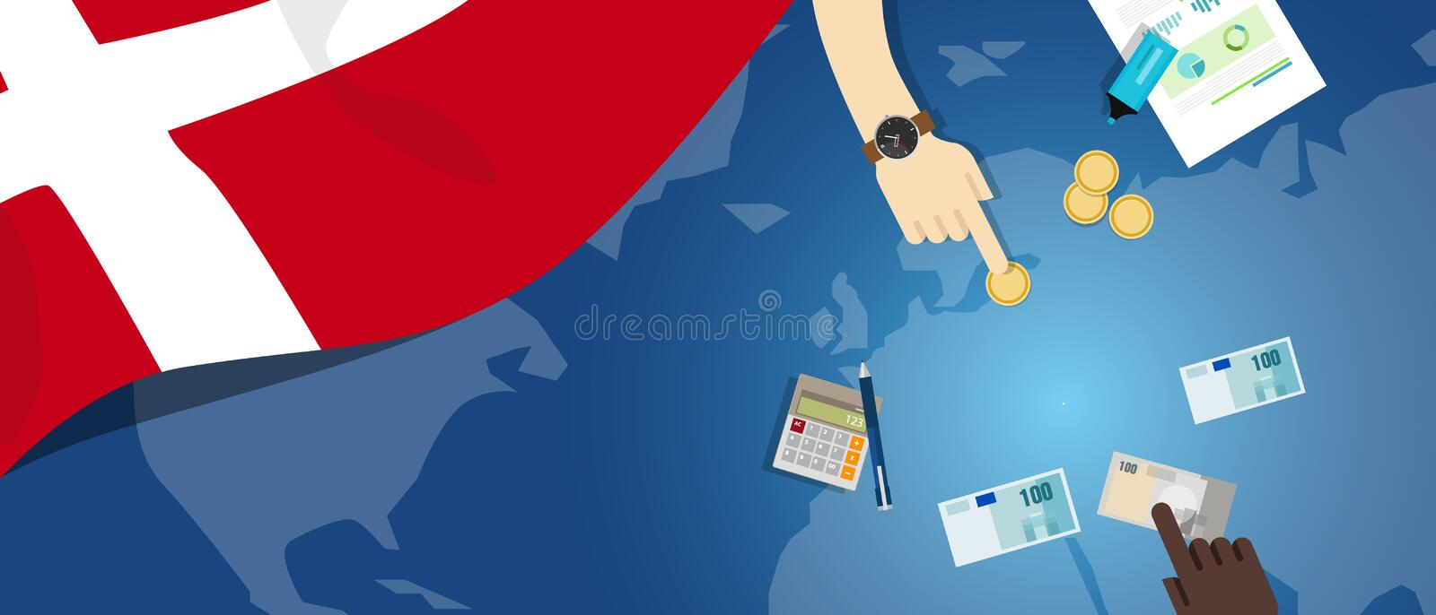 Denmark economy fiscal money trade concept illustration of financial banking budget with flag map and currency. Vector royalty free illustration