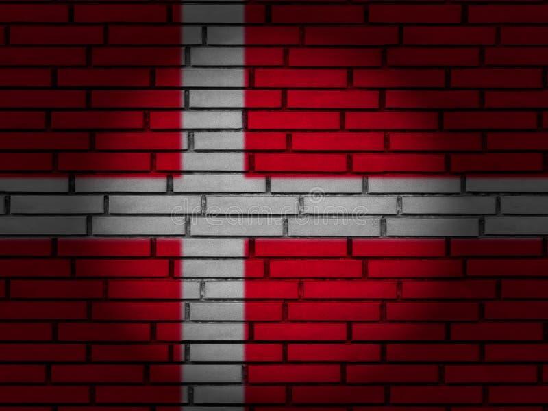 Denmark flag brick wall royalty free stock photo