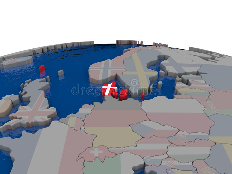 Download Denmark With Flag Stock Illustration - Image: 83717253