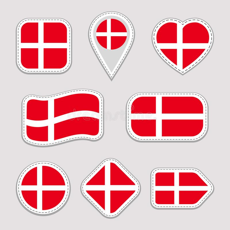 Denmark flag vector set. Collection of danish national flags stickers. Isolated icons. Traditional colors. Illustration. Web, spor royalty free illustration