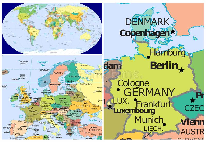 Denmark germany world stock illustration illustration of world map and close up of denmark germany gumiabroncs