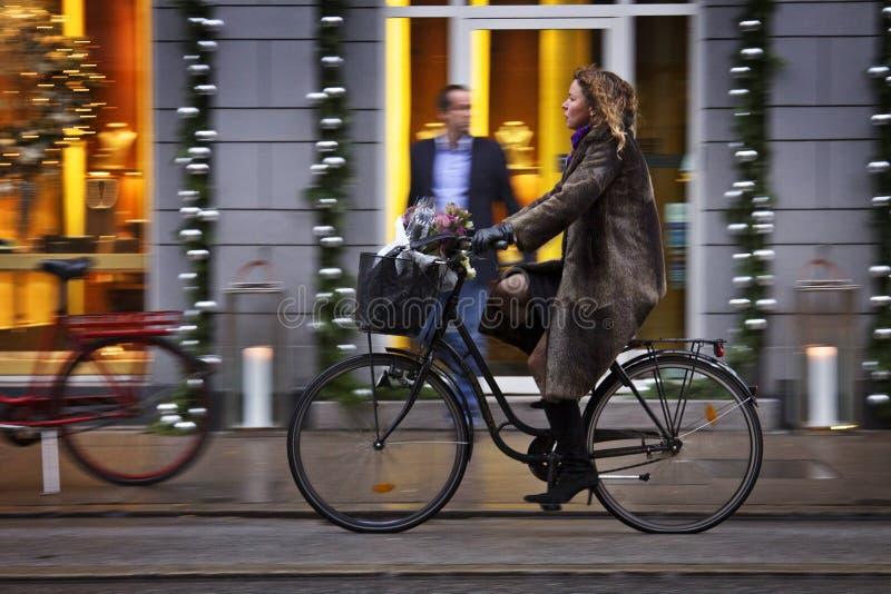 Denmark: Green Traffic In Copenhagen Editorial Stock Image